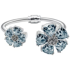 New Light Blue Sapphire Blossom Large Mixed Stone Hinge Bracelet