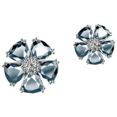 New Light Blue Sapphire Blossom Mixed Stone Stud Earrings