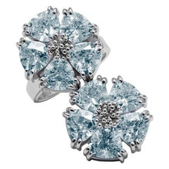 Light Blue Sapphire Double Blossom Stone Ring