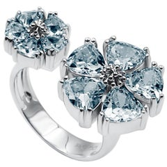 Light Blue Sapphire Mixed Blossom Stone Open Ring