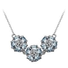 Light Blue Sapphire Triple Blossom Gentile Necklace