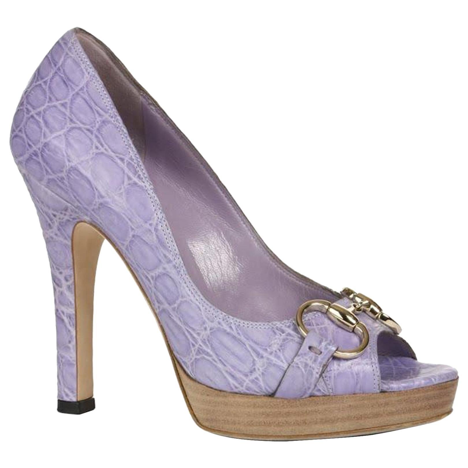 NEW Lilac Gucci Horsebit Exotic Crocodile Peep Toe High Heels Sandals