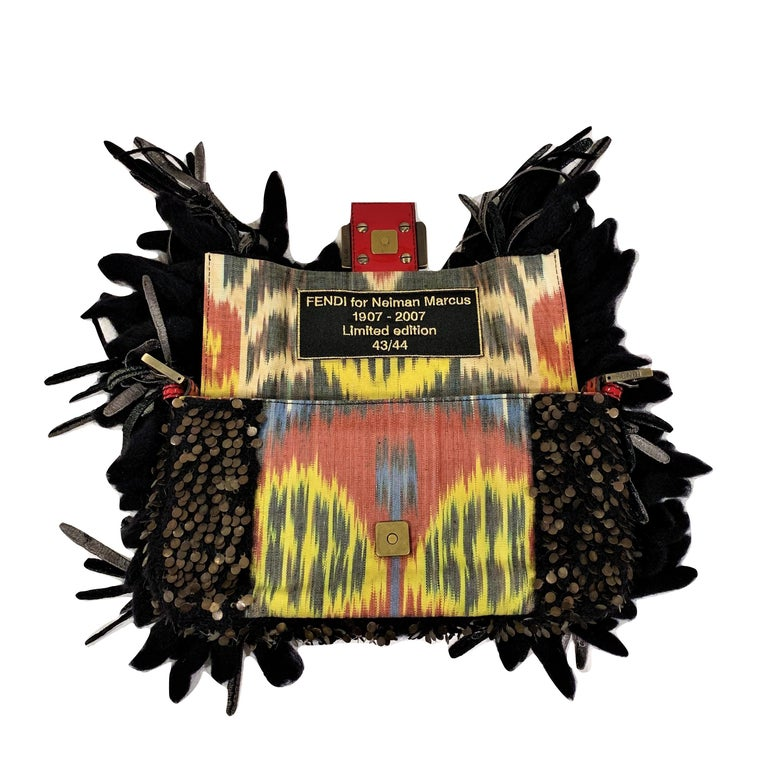 Limited Edition Fendi Bird Baguette Brand New with Tags #43 44 Limited Edition bags were Handmade for Neiman Marcus Feather/Velvet/Wool/Metal Beaded Embellishments * Southwest Dyed Colored Canvas  * Cheetah Print Calfhair Strap & Front Buckle Deep