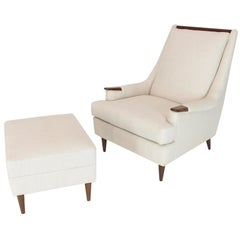 New Linen Upholstery Mid-Century Modern Lounge Chair with Matching Ottoman