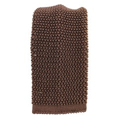 NEW & LINGWOOD Chocolate Brown Silk Textured Knit Tie