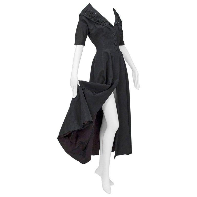 New Look Black Heavyweight Faille Beaded Portrait Collar Coat Dress - S, 1950s For Sale