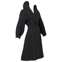 New Look Black Heavyweight Silk Faille Balloon Sleeve Princess Coat – S, 1950s
