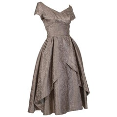 New Look Taupe Off-Shoulder Cutaway Front Jacquard Party Dress - Small, 1950s