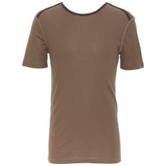 new LOUIS VUITTON 100 cotton khaki green logo tab collar short sleeve t-shirt S