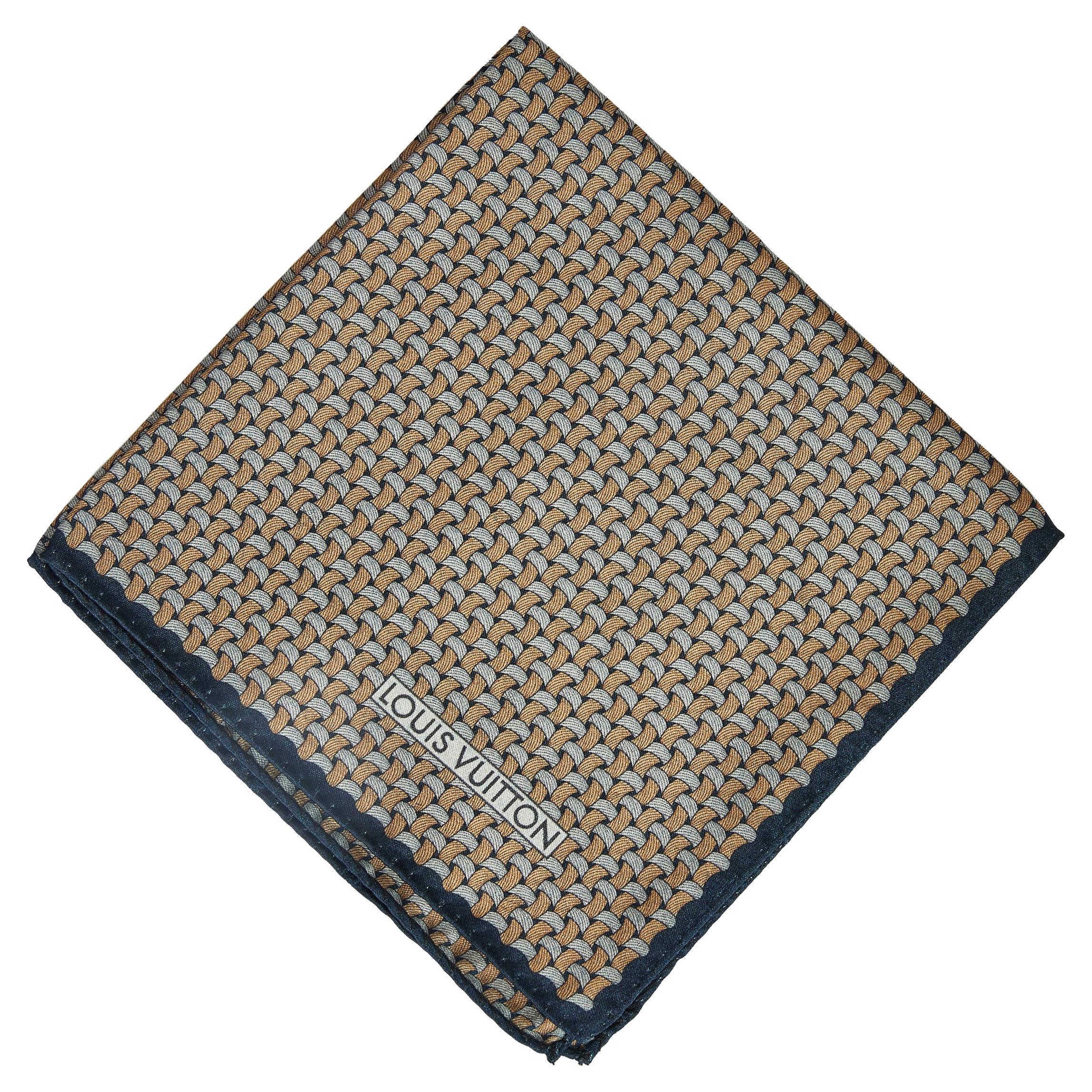 New Louis Vuitton Blue Rust Silk Pocket Square