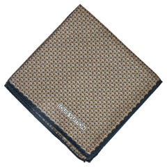 New Louis Vuitton Blue Rust Silk Pocket Square