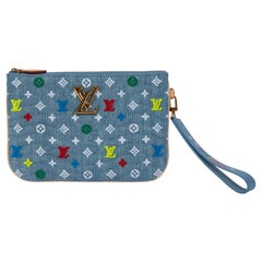 New Louis Vuitton Denim Multicolor Logo Pouchette Bag with Box