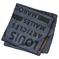 New Louis Vuitton Gray Black Silk Pocket Square