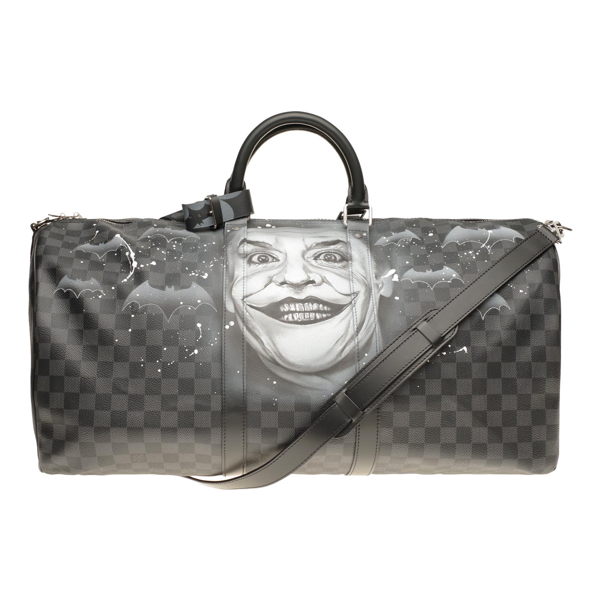 "NEW Louis Vuitton Keepall 55 damier graphite strap customized  ""BATBAG II""!"