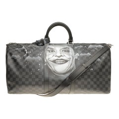 "NEW Louis Vuitton Keepall 55 damier graphite strap customized  ""BATBAG II""!"