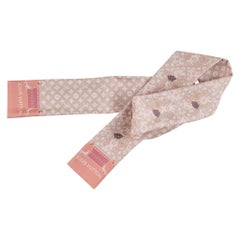 New Louis Vuitton Pink Dogs Monogram Silk Twilly Scarf