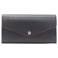 new LOUIS VUITTON Sarah black epi leather fuschia trimmed flap long wallet
