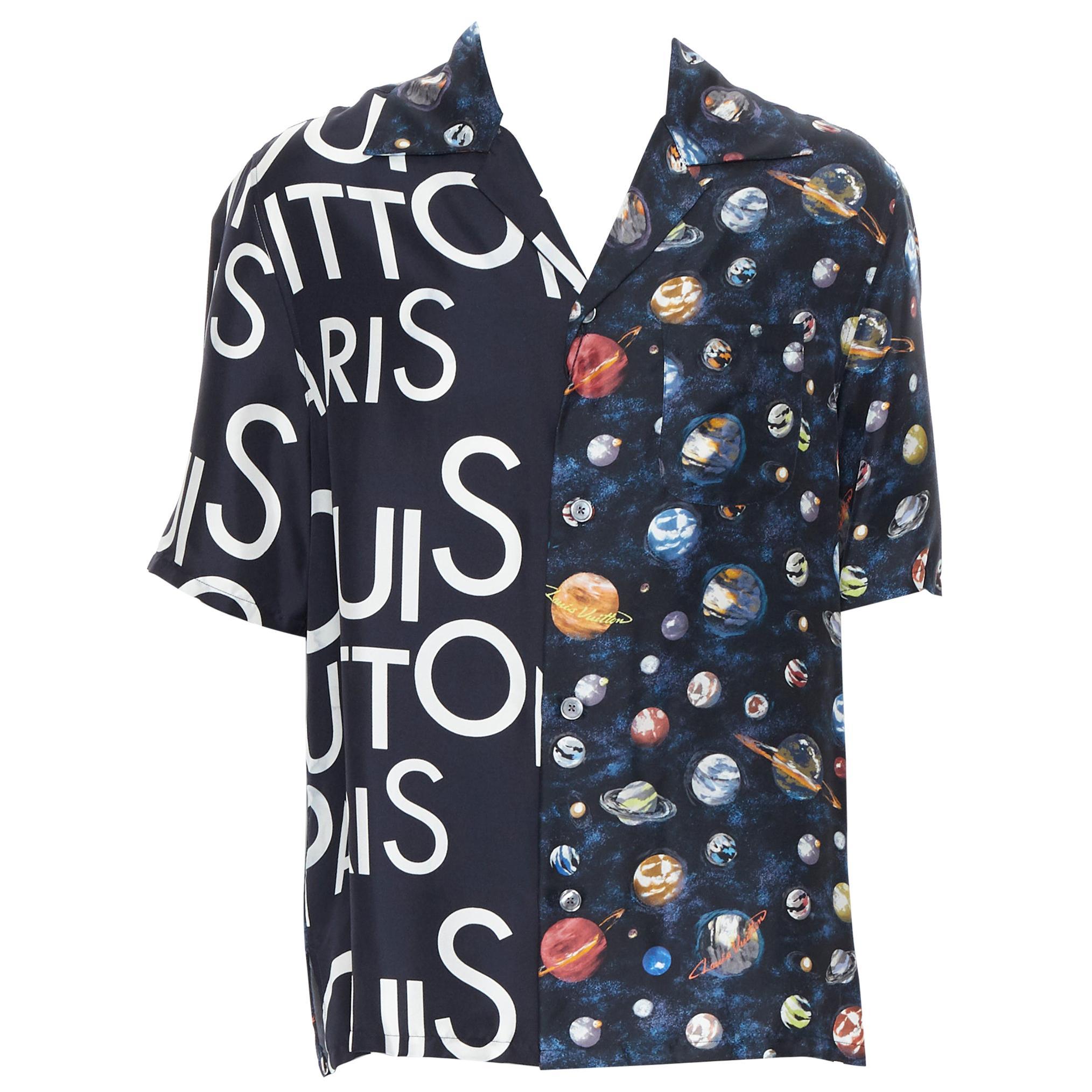 new LOUIS VUITTON Split Galaxy print short sleeve 100% silk hawaiian shirt L