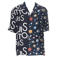 new LOUIS VUITTON Split Galaxy print short sleeve 100% silk hawaiian shirt L