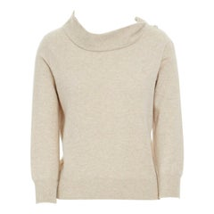 new LOUIS VUITTON wool cashmere beige crystal button stand collar sweater M