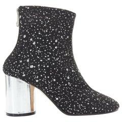 new MAISON MARGIELA black mesh speckle glitter silver chunky heel bootie EU39