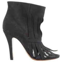 new MAISON MARGIELA black suede shredded fringe open toe bootie heels EU37 US7