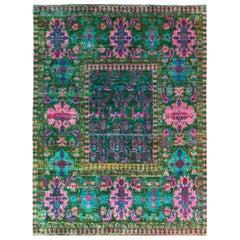 New Mamluk-Style Green and Pink Sari Silk Rug