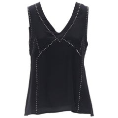 new MARC BY MARC JACOBS 100% black silk crystal embellished shell vest top S