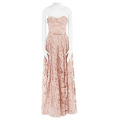 new MARCHESA NOTTE nude pink sequins embroidery lace belted gown dress US6 M