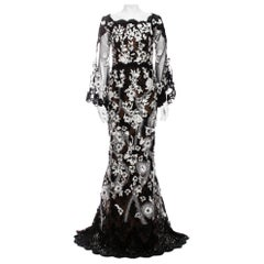 New Marchesa Runway F/W 2019 Beaded Embroidered 3-D Flowers Dress Gown US 4