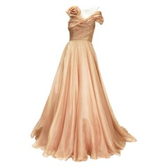 New Marchesa Wedding Ball Silk Nude Tulle Dress Gown US 4