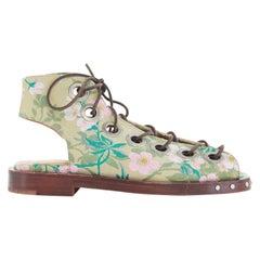 new MARQUES ALMEIDA green floral jaquard open toe eyelet lace flat sandal EU38