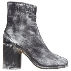 new MARTIN MARGIELA 1990's Vintage black silver handpainted tabi boot EU39