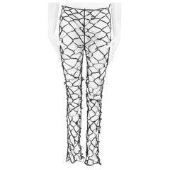 new MARTIN MARGIELA black knotted elasticated ribbon mesh legging pants S