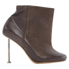 new MARTIN MARGIELA brown leather nail heel ankle boot shoe EU37 US7