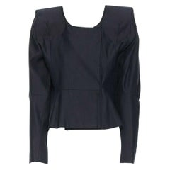 new MARTIN MARGIELA Lady Gaga navy paperboard padded shoulders jacket IT38 XS