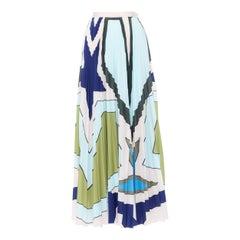 """new MARY KATRANTZOU green blue abstract print pleated midi skirt IT40 24"""""""