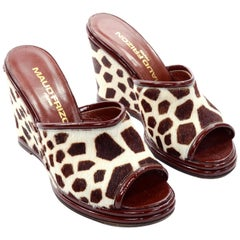New Maud Frizon Paris Wedge Heel Open Toe Shoes in Pony Fur Giraffe Print 7.5