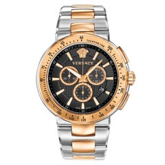 New Men's Versace Mystique Sport Steel Chrono Quartz Watch