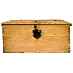 New Mexican Chest, circa 1840-1860, Spanish Colonial, Wood, Iron, Dovetail Joint