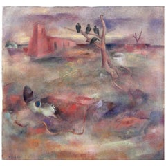 """""""New Mexico Scene,"""" Large and Rare Landscape with Adobe Church"""