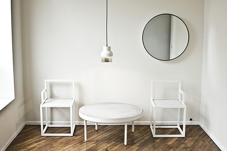 Minimalist New Mirror by Jonathan Nesci in Spun and Coated Aluminum and Mirrored Glass For Sale