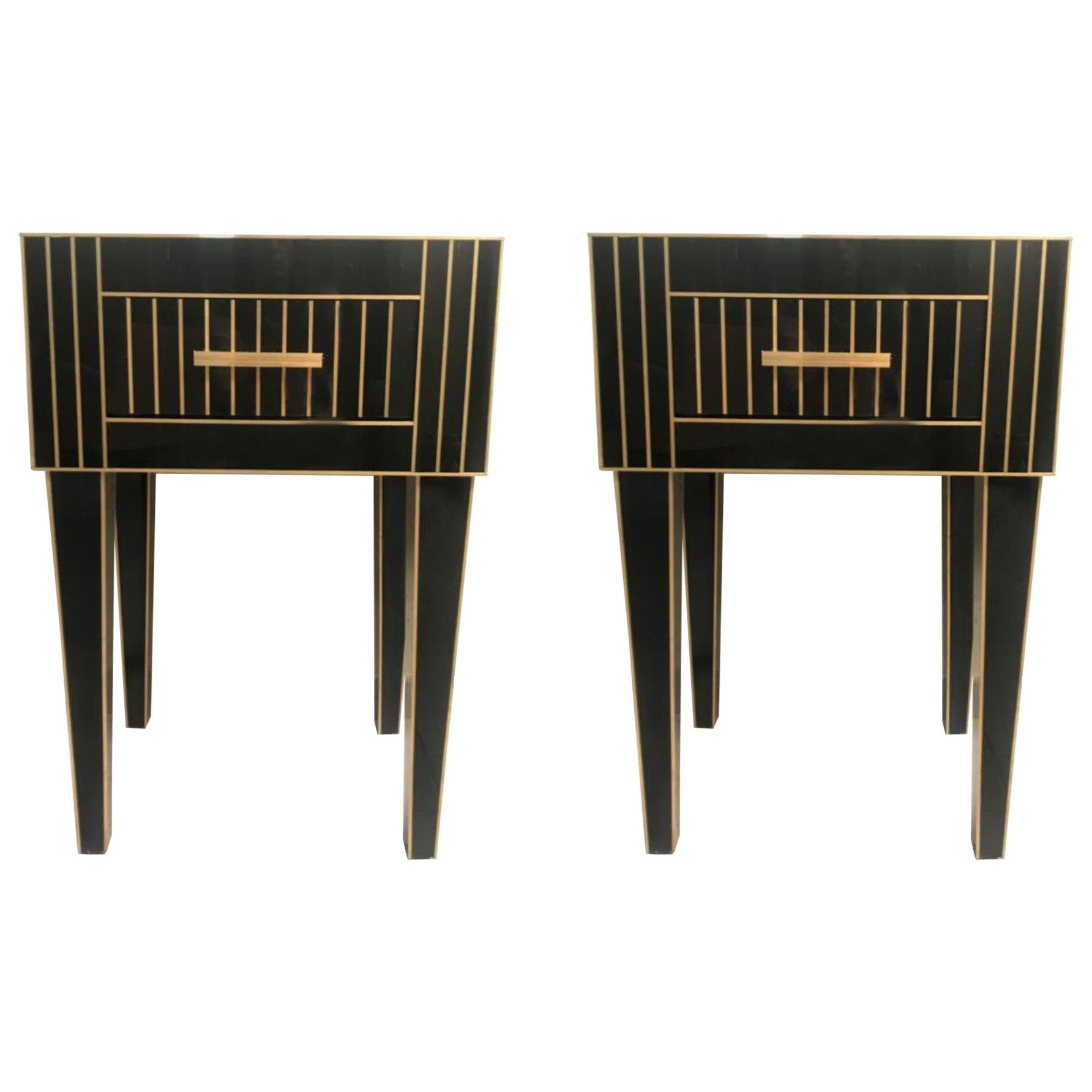 New Mirrored Nightstand in Black Mirror and Chrome, Price Per 1 Item
