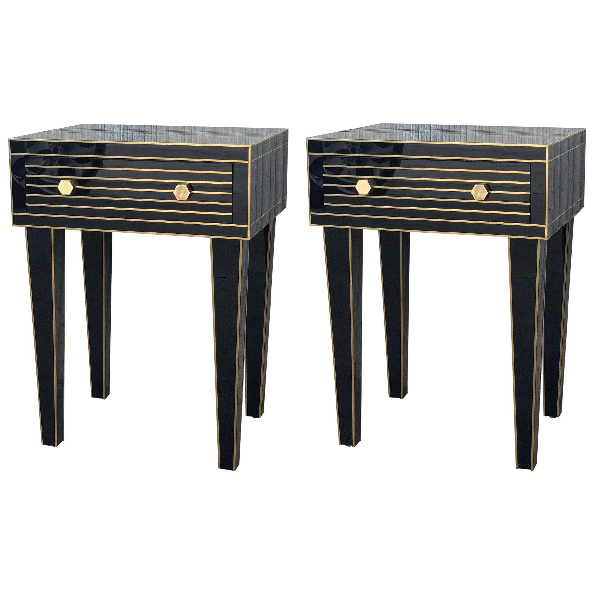New Mirrored Nightstand in Black Mirror and Chrome with One Drawer