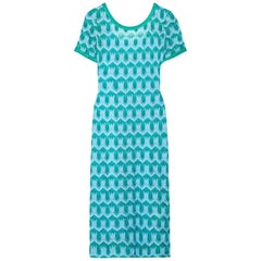 NEW Missoni Metallic Turquoise Aqua Crochet Knit Midi Dress