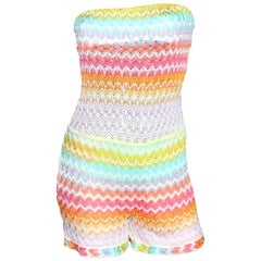 NEW Missoni Bandeau Strapless Crochet Knit Jumpsuit Playsuit Romper Overall