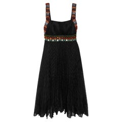 NEW Missoni Black Crochet Knit Dress with Multicolor Beaded Crystal Trimming