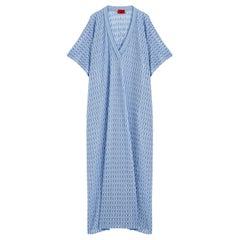 NEW Missoni Blue Chevron Crochet Knit Kaftan Maxi Dress