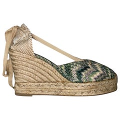 NEW Missoni Crochet Knit Canvas Espadrilles Wedge High Heels Shoes