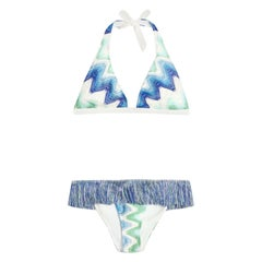 NEW Missoni Crochet Knit Fringe Detail Bikini with Pouch